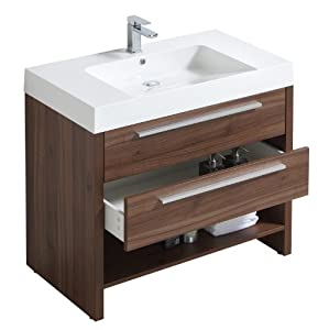 Luxo Marbre Relax V35 W Relax Vanity With Synthetic Marble Sink Walnut Bathroom Vanities
