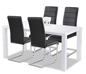 Allegro Esstisch + Stuhlset  1 x Esstisch Göteborg 140 Hochglanz weiss + 4 Ilert Freischwinger schwarz  Kundenbewertung: