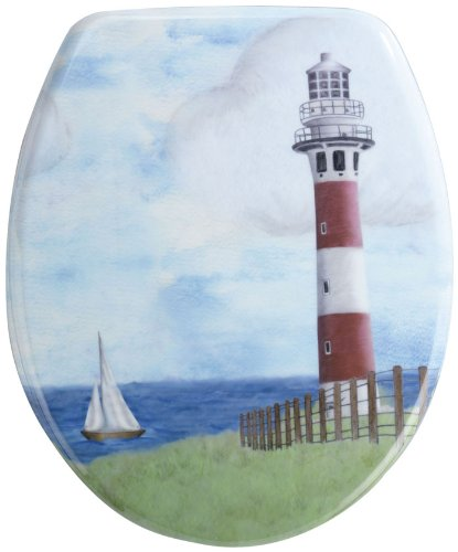 Wenko-18904100-Thermoset-Plastic-Toilet-Seat-Lighthouse