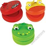 Musical Toys : Set of 3 Chunky Wooden Animal Castanets