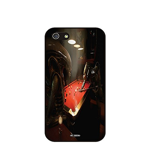Dh-Hoping (Tm) Cell Phone Case For Personalizatied Custom Picture Iphone 5C Inch High Impackt Combo Soft Silicon Rubber Hybrid Hard Pc & Metal Aluminum Protective Case With Customizatied Skull Black Art Retro Style Luxurious Pattern (Aliens-01)