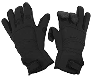 Fladen Split Finger Neoprene Gloves - Black, Medium