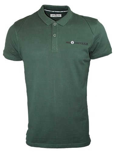New Mens Pine Green Police Jeans 883 Naval Polo Neck Knitted T-Shirt Size M