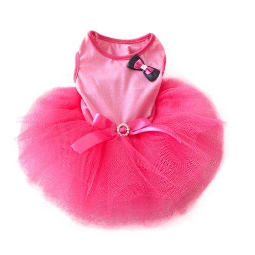 Urparcel-Pet-Cat-Princess-Tutu-Dress-Bow-Bubble-Skirt-Puppy-Clothes-Dog-Dress-Apparel-Pink-S