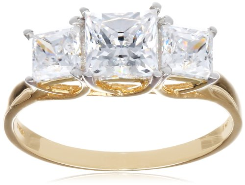 10k Yellow Gold 3-Stone Square Ring Made with Swarovski Zirconia (1  1/4 cttw), Size 8