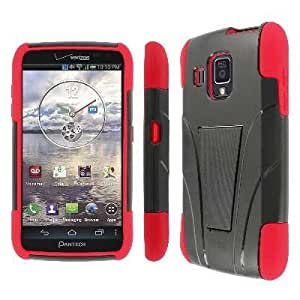 MPERO Collection Tough Red and Black Kickstand Case Cover for Pantech Perception