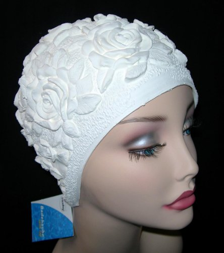 White Rose Flower Ladies Swimming Hat Large Size
