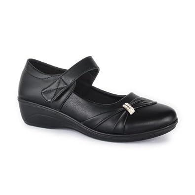 Softlites Womens Black Wedge Diamante Shoe - Size 9 - Black