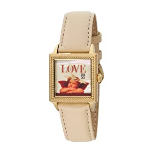 "The P.S. Collection by Arjang and Co. Women's PS-2004G-BE ""Love Cupid"" Gold Colored Stainless Steel Square Mother Of Pearl Dial Leather Strap Watch"