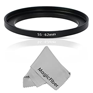 Goja 55-62mm Step-Up Adapter Ring (55mm Lens to 62mm Accessory) + Premium MagicFiber Microfiber Lens Cleaning Cloth