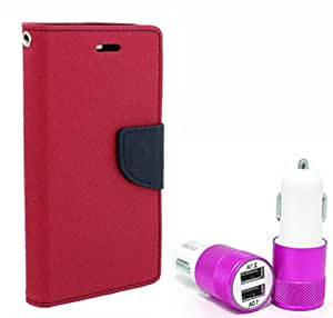 Aart Fancy Diary Card Wallet Flip Case Back Cover For HTC626 - (Pink) + Dual ports USB car Charger With Ultra Power Technolgy by Aart Store.
