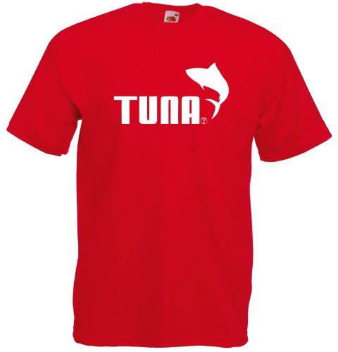 Tuna, Puma inspirert Gedruckt T-Shirt - rot/ weiß S= 86/91 cm