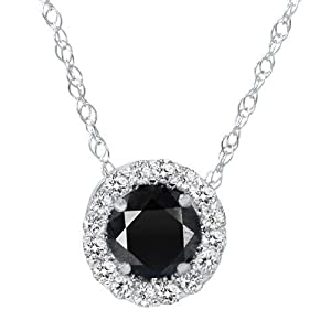 .55CT Black & White Diamond Pave Halo Pendant 14K White Gold Womens Necklace