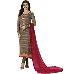 Latest Wize Pale Brown Straight Cut Georgette Brasso Party Dress Material with Chiffon Dupatta