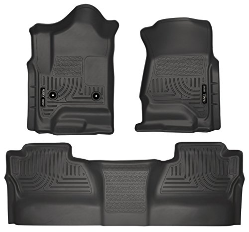 2015-2016 Chevy Silverado 3500 HD Crew Cab - Husky Liners Weatherbeater Series (Full Set Includes 1st and Second Row Footwell Coverage) - Black (Husky Floor Mats Chevy Silverado compare prices)