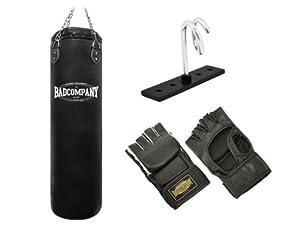 Pro MMA-Set inkl. Boxsack 120 x 35cm ungefüllt, PU MMA Handschuhen, Deckenhalterung und Heavy Duty Vierpunkt-Stahlkette