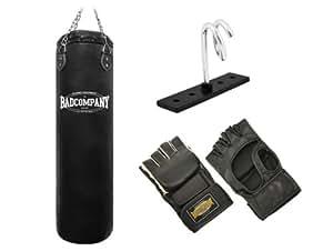 Pro MMA-Set inkl. Boxsack 120 x 35cm gefüllt, PU MMA Handschuhen, Deckenhalterung und Heavy Duty Vierpunkt-Stahlkette