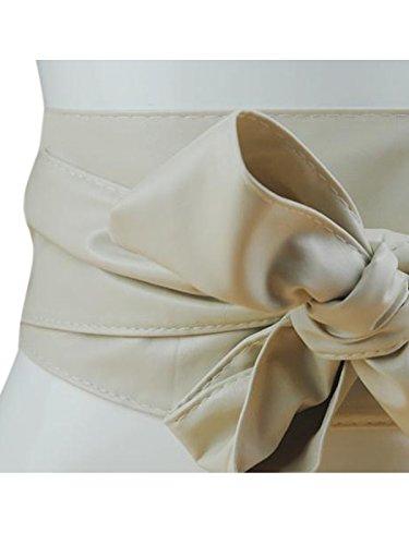 Women PU Leather Soft Self Tie Bowknot Band Wrap Around Sash Obi Belt Beige