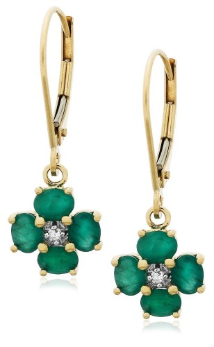 14k Yellow Gold Diamond and Emerald Floral Dangle Leverback Earrings