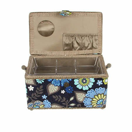Sewing Basket Sewing Box Blue Funky Floral Print Fabric Hobby Box Trimed in Grey Green ~ Medium Rectangle ~ 11 X 6 X 6.5 (28cm x 15cm x 16.5cm) with Handle, Magnetic Snap Clasp and Feet аксессуары для акустики sonance medium rectangle staple template 5 pair per box