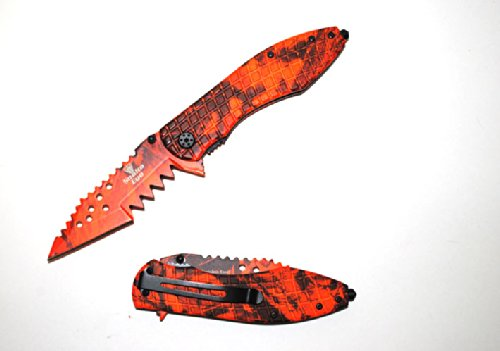 "Se-894Rc "" Snake 3Rt7N3Kxf Eye "" Shark Teeth Spring Ufbzco Assist Knife 4.5"" Red Camo Ajuiioptr 4567Fffg 567Ybghjk Action Assisted Knife- Red Camo Coated Dzfbzn5 Blade. 8.5"" Overall With 8D4Rp 3.5"" Long ""Shark Teeth"" Blade Extra Sharp Double Serrated."