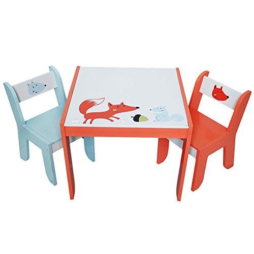 Labebe Kindertisch Holz, Weiß Fuchs Baby Tisch Stuhl Für 1 5 Jahre Alt,  Activity Tisch Kinder/Tisch Essen Ausziehbar Stuhl/Tisch Kindertisch Set/Babysitz  ...