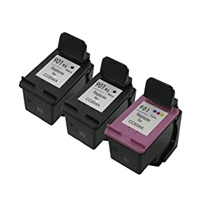 3 Pack. Refurbished cartridges for HP 901XL Black and HP 901 Tri-Color Ink Cartridges. Includes Cartridges for 2ea HP 901XL Black + 1 ea HP 901 Tri-Color.