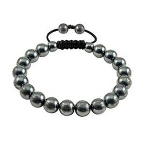 MENS BLACK GREY Hematite Beads SHAMBHALA / SHAMBALLA FRIENDSHIP BRACELET - 9mm. Adjustable. Unisex. Beware of cheap imitations! Handmade high quality. Celebrity Fashion. With Gift Pouch. Check out our range of colours.