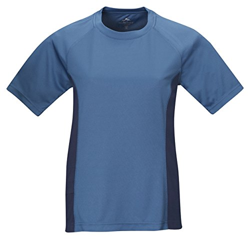 Tri-Mountain Women'S Moisture Wicking Crewneck Shirt, Azure Blue/Navy, Xx-Large front-531758