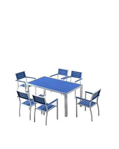 Ceets Court 7-Piece Outdoor Dining Set, Blue/Grey