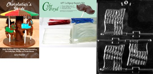 """Cybrtrayd """"Flag Lolly"""" Chocolate Mold with Chocolatier's Bundle, Includes 50 Lollipop Sticks, 50 Cello Bags, 25 Red and 25 Blue Twist Ties and Chocolatier's Guide"""