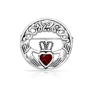 Bling Jewelry 925 Silver Irish Celtic Claddagh Brooch Pin Ruby Color Heart CZ