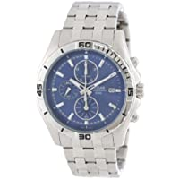 Pulsar PF8397 Silver Tone 50M Stainless Steel Chronograph Blue Dial Men's Watch