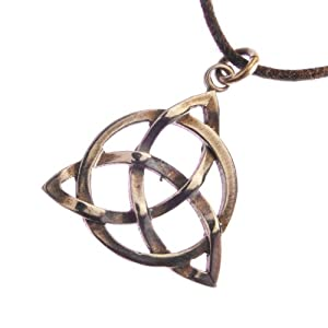 Delicate Triquetra Trinity Knot Peace Bronze Pendant Necklace on Adjustable Natural Fiber Cord