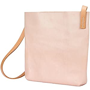 JOYDIVISION VINTAGE Women's Handmade Genuine Cowhide Leather Hobo Shopping Bag Color Beige Small