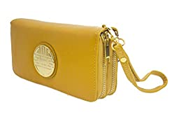 Canal Collection Double Zipper Around PVC Leather Wristlet Clutch Organizer Wallet with Emblem (Yellow)
