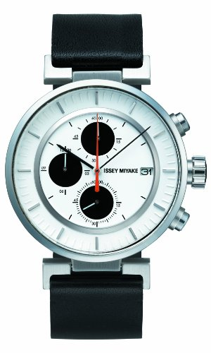 Issey Miyake SILAY003 - Reloj cronógrafo de cuarzo unisex con correa de piel, color negro