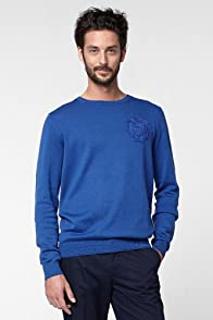 Crew Neck Jersey Sweater With Tonal Crest
