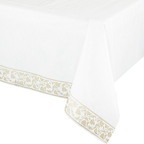 "Amscan Elegant with Trim Premium Quality Paper Table Cover, 54"" x 102"", White - 1"