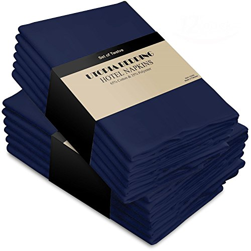 Cotton Dinner Napkins Navy-Blue - 12 Pack (18 inches x18 inches) Soft and Comfortable - Durable Hotel Quality - Ideal for Events and Regular Home Use - by Utopia Kitchen