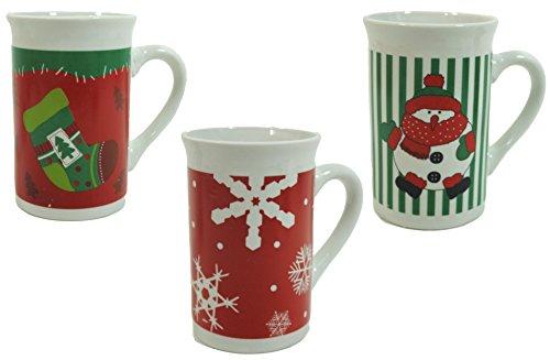 Winter Themed Ceramic Coffee Mugs (Set Of 3)