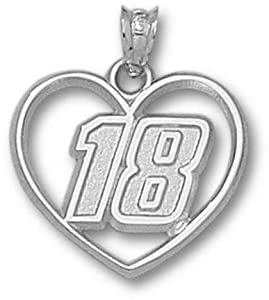 Kyle Busch Driver Number 18 Heart Pendant - Sterling Silver Jewelry by Logo Art