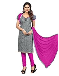 Desi Look Women's Grey Chanderi Dress Material With Dupatta