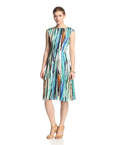 Melissa Masse Women's Fit Flare Boat Neck Dress