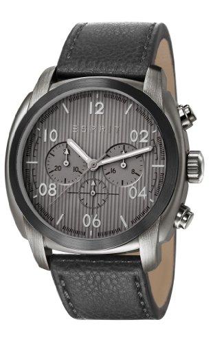 Esprit  ES107551003 - Reloj de cuarzo para hombre, con correa de cuero, color negro