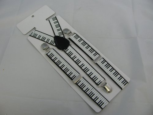 Pair of black and white piano keys fashion braces [suspenders]. 2.5cm wide. Adjustable with metal adjusters and snap fasteners.