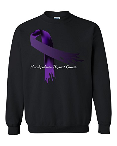 Mucolipidoses Thyroid Cancer Purple Torn Awareness Ribbon - Adult Sweatshirt (Thyroid Cancer Merchandise compare prices)