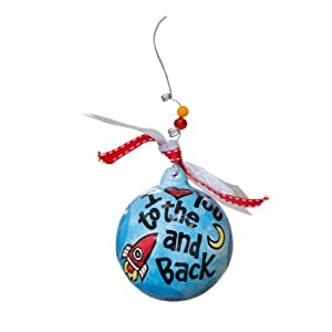Glory Haus To The Moon and Back Boy Ornament, 4 by 4-Inch, Blue