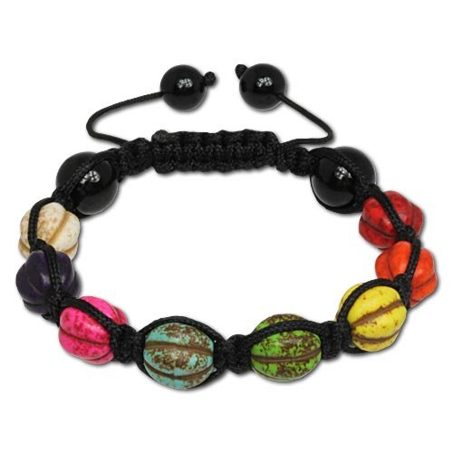 SilberDream Howlite Bead Shamballa Bracelet unisex with 10mm colourful Howlite beads SDA928