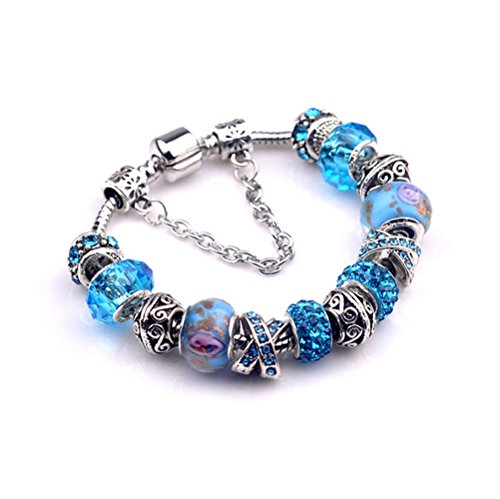 Gorgeous Jewelry Blue Coloured Glaze Beads Hand Carve Lover Bracelets of Ancient Pandora Jewellery